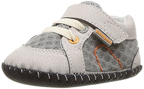 pediped Boys' Dani Crib Shoe, Grey/Orange, 6-12 Months Regular EU Infant (6-12 Months US)