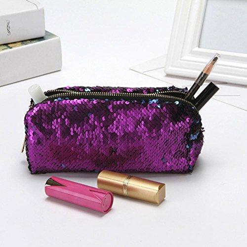 LHWY Unisex Moda Doble Color Lentejuelas Bolso CosméTico Bolsa De Maquillaje Bolsa Púrpura