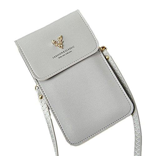 Mini bolso del teléfono,OURBAG Bolso bandolera de cuero pequeño Bolso de embrague casual para citas Rosado Gris