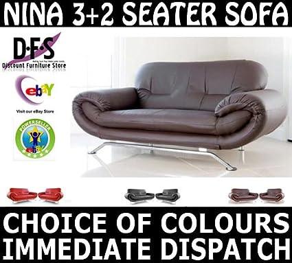 Wondrous Nina Brown 3 2 Seater Sofa Set Retro Suite Faux Leather Machost Co Dining Chair Design Ideas Machostcouk