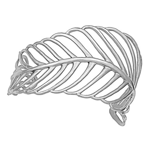 Mercedes Shaffer Undulating Feather Cuff Bracelet (Platinum Silver Plated) Eco Chic Designs by