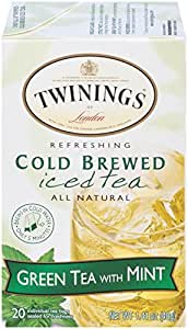 Twinings Cold Brew Tea, Green Tea with Mint, 20 Count Bagged Tea (6 Pack)