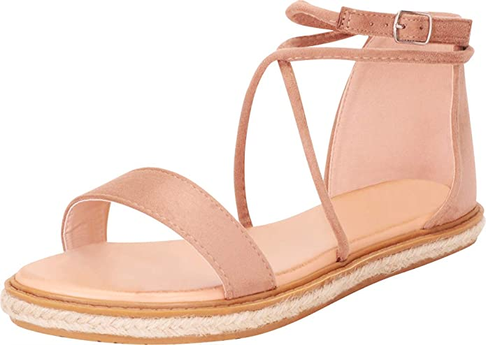 Cambridge Select Women's Open Toe Crisscross Strappy Espadrille Flat Sandal by Cambridge Select