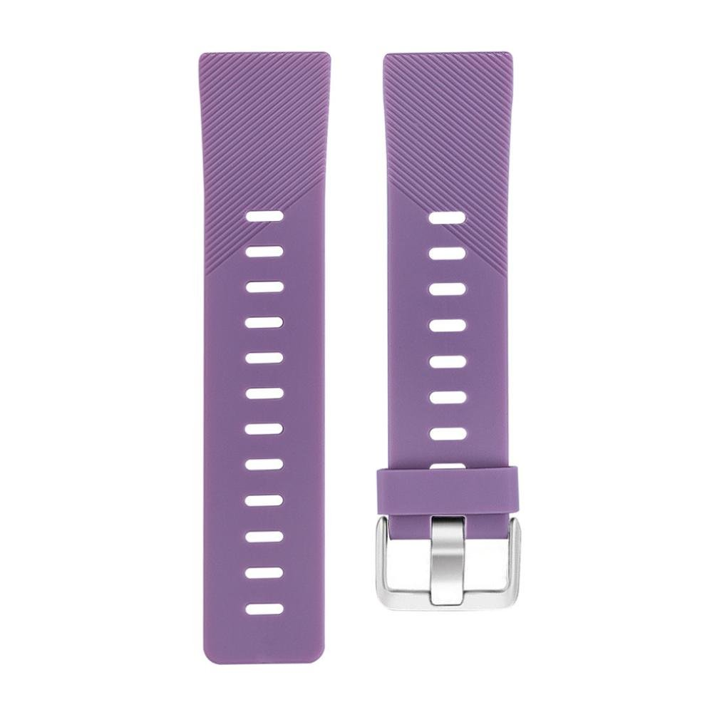 Lovewe Replacement Fashion Sports Twill Silicone Bracelet Strap Band For Fitbit Versa 228mm (Purple)