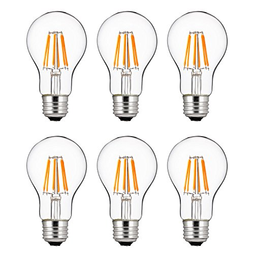 Fluorescent Compact Lamp Hour 15000 (Sunlite 40947 LED Filament A19 Standard 6 (25 Watt Equivalent) Clear Dimmable Light Bulb, 6 Pack, 2200K-Warm White)