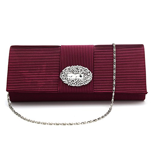 Ladies Designer Pleated Satin Wedding Evening Bags Formal Clutch Purse Crystal Evening Handbag for Women (Claret)