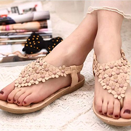 Sandals for Women ,Saingace Women's Fashion Sweet Lovely Summer Bohemia Flowers Beaded Flip-flop Sandals Clip Toe Sandals Beach Shoes Herringbone Sandals Strap Sandal Shoes Khaki