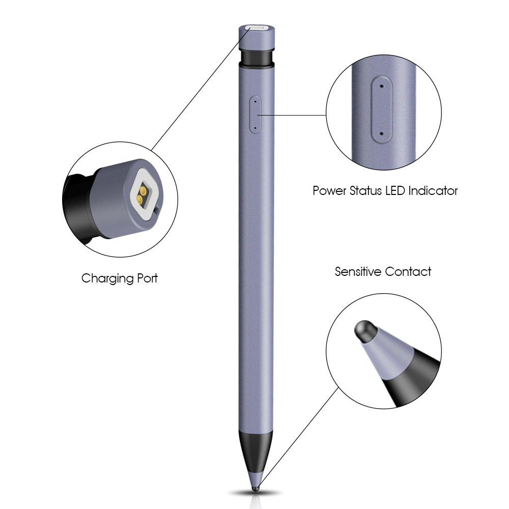 Awinner Active Stylus Pen,Fine Point Precision Stylus for iPad, iPhone, Samsung, Android, and Most Touchscreens and Smartphones (Gray) by AWINNER (Image #3)