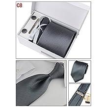 PAHALA Mens Fashion Necktie Cufflinks Tie Bar Pocket Square Set Box (C8)