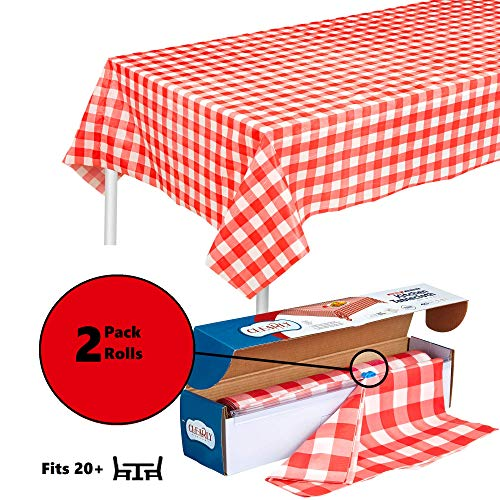 (2 Rolls) Red Gingham Plastic Tablecloth Roll With Cutter, 100' x 52