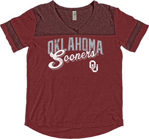 Blue 84 NCAA Oklahoma Sooners Adult Women NCAA Women's Dyed Varsity Tee,Large,Nantucket Red (Graphic Original Vintage T-shirt)