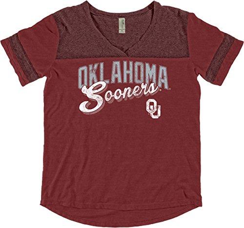 Blue 84 NCAA Oklahoma Sooners Adult Women NCAA Women's Dyed Varsity Tee,Large,Nantucket Red (Vintage Graphic Original T-shirt)