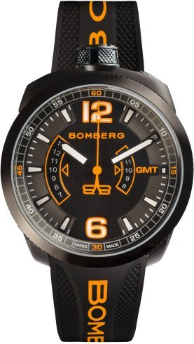 BOMBERG MENS GMT WATCH and POCKET WATCH BOLT-68 BLACK WITH DARING ORANGE ACCENTS