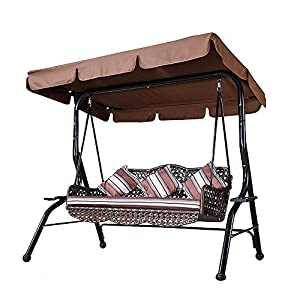 cilyberya 3 Seater Outdoor Canopy Swing Glider Chair