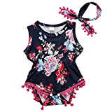 Cute Adorable Floral Romper Baby Girls Sleeveless Tassel Romper One-pieces +Headband Sunsuit Outfit Clothes (6-12 Months, Dark Blue)