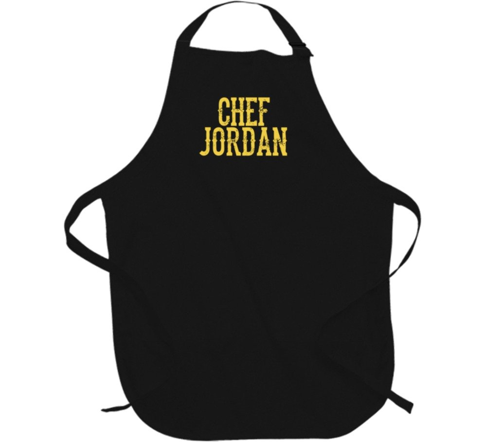Chef Jordan Personalized Dad Father's Day Cooking Kitchen Grill Gift Apron L Black