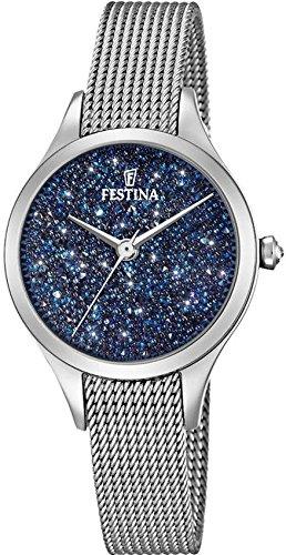 Women's Watch Festina - F20336/2 - Blue Crystals from Swarovski - Milanese Band