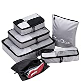 TripDock Various Packing Cubes 6 Set Lightweight Travel Luggage Organizers (1Grey(1Large+1Medium+1Small+1Slim+1 Shoes bag+1Laundry bag))