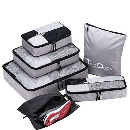 TripDock Various Packing Cubes 6 Set Lightweight Travel Luggage Organizers (1Grey(1Large+1Medium+1Small+1Slim+1 Shoes bag+1Laundry bag)) by TripDock (Image #8)
