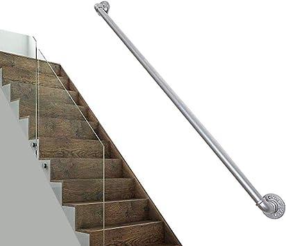 Pasamanos De Escaleras De Plata, Simple Pared Interior Forjado Hogar De Hierro Antideslizante Barra De Soporte De La Escalera De Pasamanos - Kit Completo, Longitud 100~600cm (Size : 500cm): Amazon.es: Bricolaje y