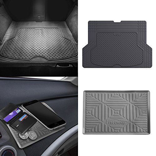 FH Group F16406 Premium Trimmable Rubber Cargo Mat w. FH3011 Silicone Anti-Slip Dash Mat, Gray Color- Fit Most Car, Truck, SUV, or Van