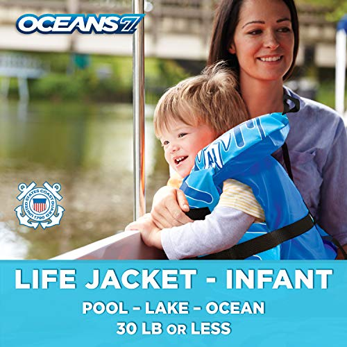 Oceans7 Us Coast Guard Approved, Infant Life Jacket, Type II Vest, PFD, Personal Flotation Device, Flex-Form Chest, Blue/White (Type 2 Vest)