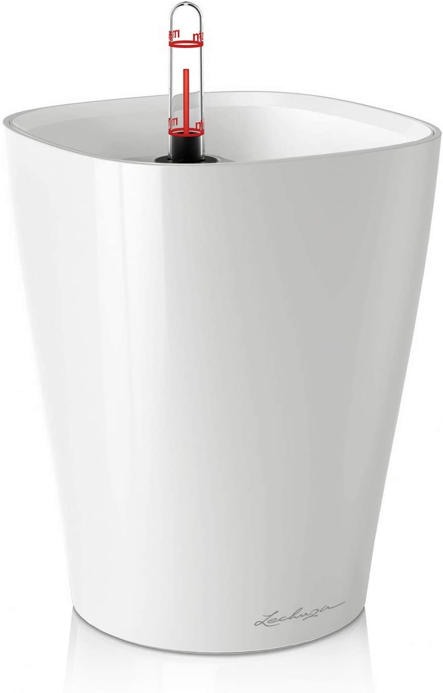 Lechuza 14900 Deltini Self-Watering Garden Planter for Indoor and Outdoor Use, White