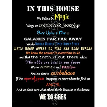 In This House We Do Geek, Home Decor Art Print (8x10)