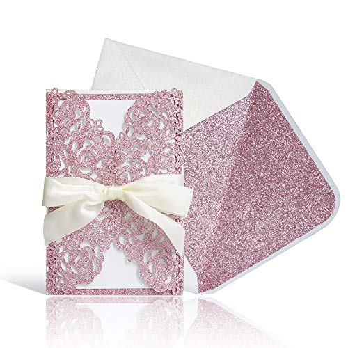 "Laser Cut Wedding Invitations with Envelopes – 25pcs Pink Glitter Hollow Rose Invitation Cards with Pink Inner Sheet,Ivory Ribbon,White+Pink Glitter Envelopes for Wedding Bridal Shower (4.7"" x 7′)"