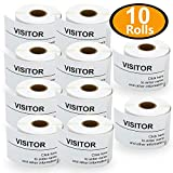 10 Rolls Dymo 30857 Compatible 2-1/4'' x 4'' LabelWriter Self-Adhesive White Visitor Name Tag Badge Labels