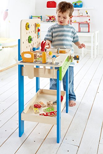 51N19HWtonL - Hape Master Workbench by Award Winning Kid's Wooden Tool Bench Toy Pretend Play Creative Building Set, Height Adjustable 32 Piece Workshop for Toddlers