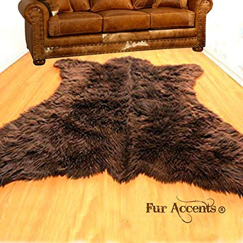 Fur Accents Faux Bear Skin Area Rug Plush Faux Fur 5'x8' - the best living room rug for the money