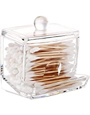 Acrylic Q-Tip cottonswab Storage Dispenser, Luxspire Clear Cotton Ball Swab Holder Cotton Bud Storage Box, Cosmetics Makeup Storage Holder Box Organizer Container with Lid