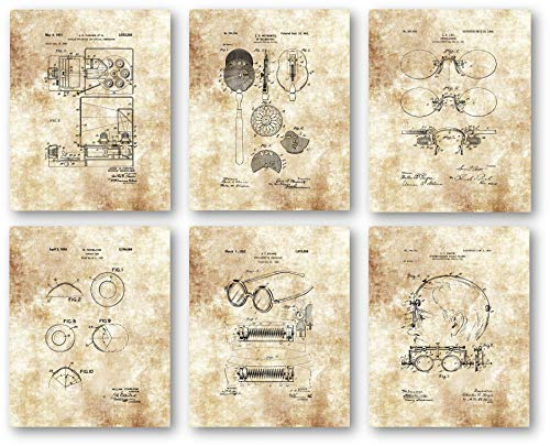 Ramini Brands Original Optometrist Patent Artwork - Set of 6 8 x 10 Unframed Prints - Great Gift for Opthomologists, Eye Doctors, Opticians - Vintage Vision Center - Ophthalmoscope May