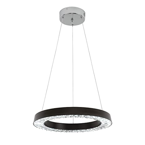 E&Green Black Crystal Chandelier LED Crystal Pendant Light 36W LED 16 inch  Round Pendant Light for Living Room Bedroom Restaurant Porch Dining Room ...