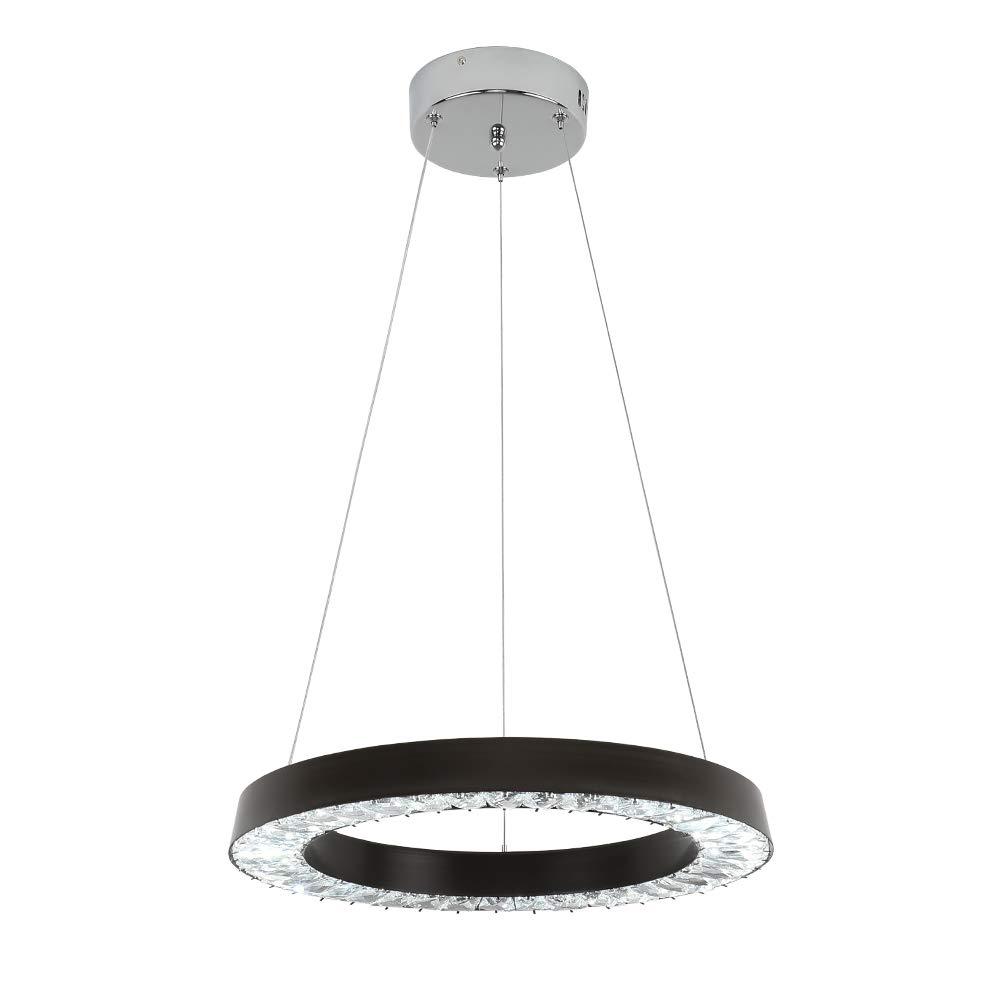 E&Green Black Crystal Chandelier LED Crystal Pendant Light 36W LED 16 inch Round Pendant Light for Living Room Bedroom Restaurant Porch Dining Room (Black)