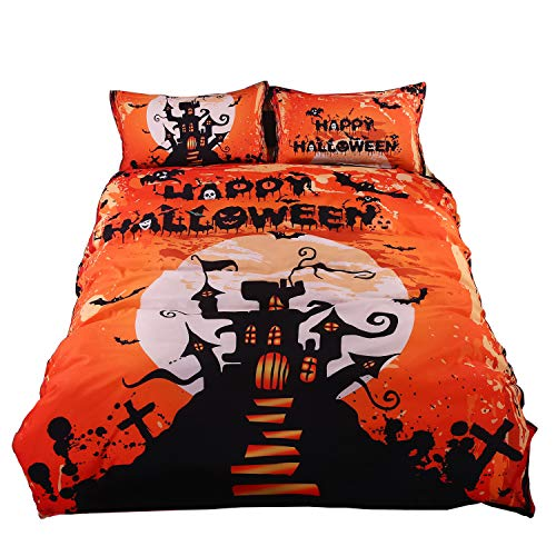 Creative Blazing Halloween Clear 3D Bedding Set Sanding 4 Pieces Reactive Printing Quilt Cover Flat Sheet Twin/Full/Queen/King Size