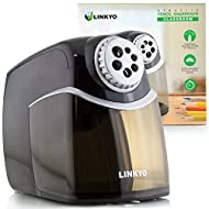 LINKYO Heavy Duty Electric Pencil Sharpener, Designed for Classroom and High Volume Use (Black, Gray)