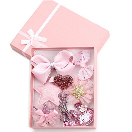 HaloVa Hair Accessories Baby Little Girls Hair Clips Bows Barrettes Hairpins Set,Pink,small