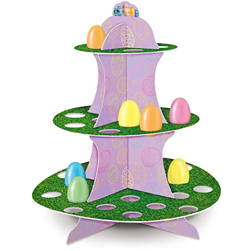 13.6 Inches Tall 3-Tier Cardboard Easter Egg Display & Treat Stand | Ideal for Easter Egg Decorations Table Centerpiece