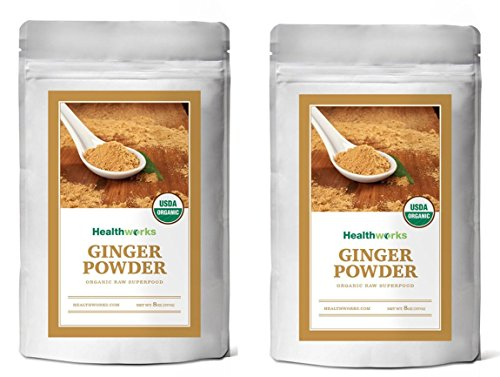Healthworks Ginger Root Powder Organic Ground, 1lb (2 8oz Packs)