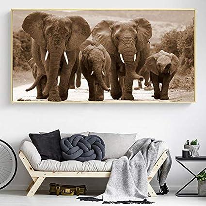 XCSMWJA Elefantes De África Animales Salvajes Lienzo Pintura Carteles E Impresiones Cuadro De Arte De Pared para Sala De Estar Decoración del Hogar 70 * 140Cm