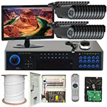 GW Security Inc 24CHV1 32 Channel H.264 960H Real-Time DVR with 24 x Sharp CCD Outdoor Camera, 520TV Line 3.6mm Lens Security Camera System, Free LED (Black)