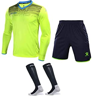eb504ce60f3 Goalkeeper Jersey Uniform Bundle - Set Includes Shirt, Shorts and Socks -  Protection Pads on