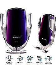 شاحن سيارة لاسلكي من Volwco ذو قفل تلقائي، حامل هاتف ذكي من IR 10 وات للشحن السريع Qi مزود بمنفذ للهواء لهاتف iPhone Xs/Max/X/XR/8/8 Plus، Samsung S10/S9/S8/Note 8