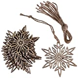 Hophen Wooden Laser Cut Hexagon Snowflake with Hemp Rope Rustic style Crafts Christmas Tree Hanging Ornament (20, Snowflake2)