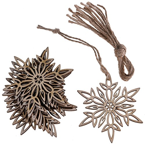 Hophen Wooden Laser Cut Hexagon Snowflake with Hemp Rope Rustic style Crafts Christmas Tree Hanging Ornament (20, - Ornaments Tree Natural Christmas