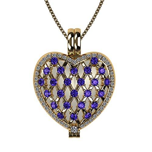 Amethyst Heart Locket (NANA Sterling Silver Heart Locket Mother's Pendant Yellow Gold Plated - Amethyst Simulated Birthstone - Feb)