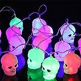 Tanbaby Skull LED String Light 16.4ft 20pcs Halloween Decoration Fairy String Garland Halloween Hanging Lantern Lamps 110V (Multicolor)