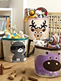 3 Sprouts Laundry and Toy Basket Canvas Storage Bin for Baby and Kids, Raccoon
